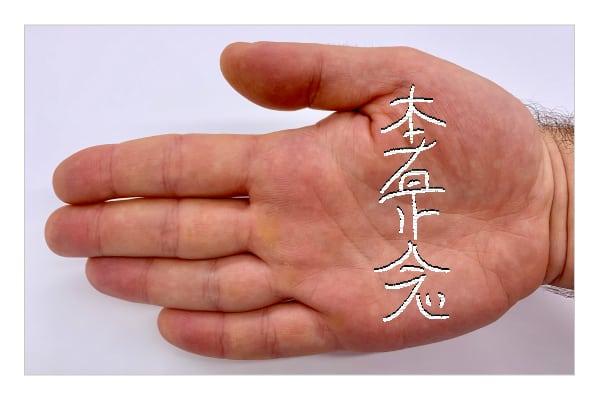 hon-sha-ze-sho-nen dibujar en la palma de la mano izquierda
