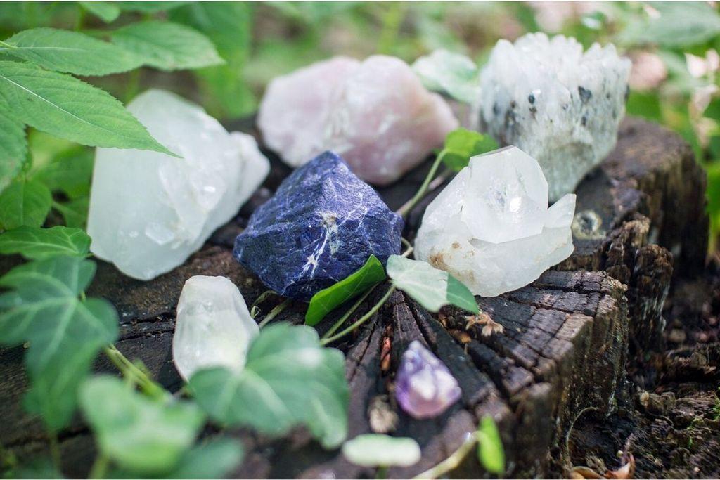 cuarzo rosa y otros cristales con plantas