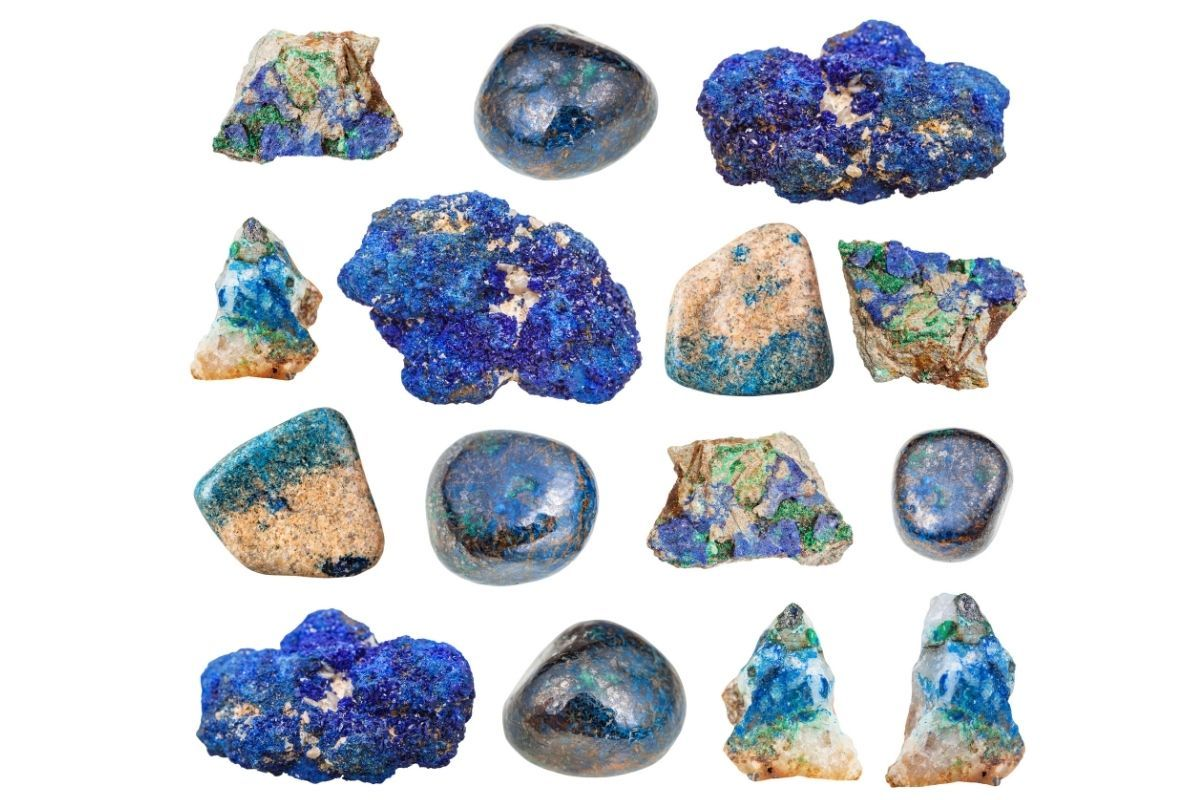 diferentes variedades de piedras azuritas