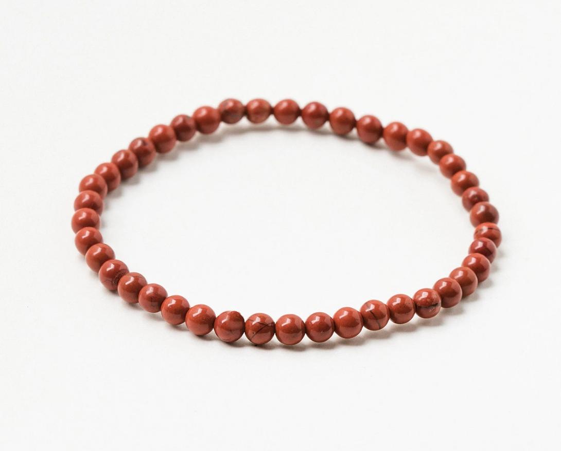 Pulsera de piedras preciosas de jaspe rojo